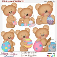 Marshmallow Bear Easter Egg Fun Layered Element Templates
