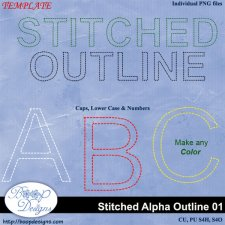 Stitched Alpha Outline 01 by Boop Designs