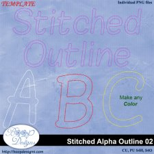 Stitched Alpha Outline 02 ACTION by Boop Designs