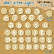 Wood Button Alpha by Mandog Scraps