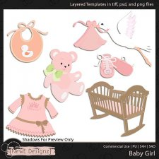 EXCLUSIVE Layered Baby Girl Templates Set 1 by NewE Designz