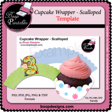 Cupcake Wrapper Scalloped TEMPLATE by Boop Printable Designs