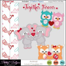 Animal Love Couples CLIPART SET 01 by Boop