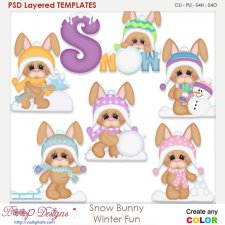 Snow Bunny Winter Fun Layered Element Templates