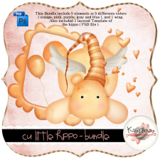 Little Hippos Bundle Layered Template by Peek a Boo Designs