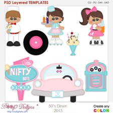 50's Diner Layered Element Templates