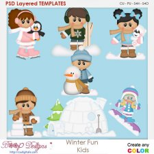 Winter Snow Fun Kids Layered Element Templates
