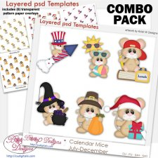 Calendar Mice Holiday 2 Layered Template & Pattern Overlay COMBO