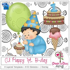 Happy 1st Birthday Layered Template by Peek a Boo Designs
