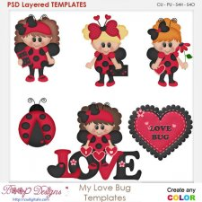 My Little Love Bug Layered Element Templates