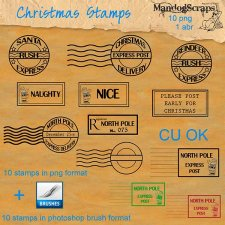 Christmas Stamps and Brushes by Mandog Scraps