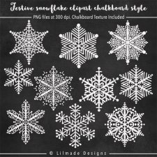 Winter snowflake chalkboard clipart plus chalkboard digital paper