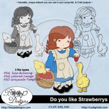 Do-you-like-Strawberries - Lineart Clipart & TEMPLATE