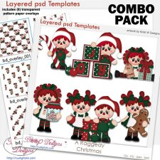 Raggedy Christmas Layered Template COMBO Set