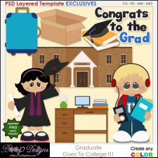 Grad Goes to College 01 - EXCLUSIVE Layered TEMPLATES