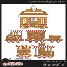 EXCLUSIVE Layered Gingerbread Train Templates By NewE Designz