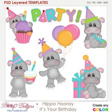 Hippo Hooray It's Your Birthday Layered Element Templates