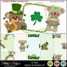 St Pats 01 - Clipart & Pattern Overlay COMBO