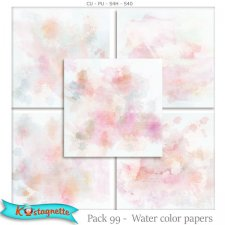 EXCLUSIVE Pack 99 Water color papers by Kastagnette