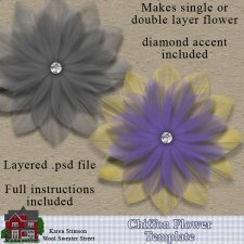 Chiffon Flower Template by Karen Stimson