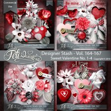 Designer Stash Vol 164-167 - Sweet Valentine No. 1-4 by Feli Designs