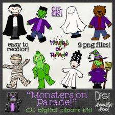 Monsters on Parade Halloween themed CU clipart