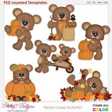 Henry the Bear Loves Autumn Element Templates