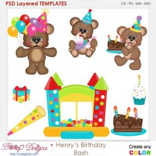 Henry Bear Birthday Bash Layered Element Templates