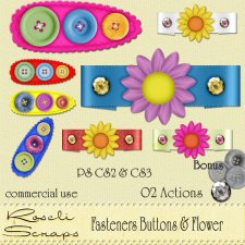 Fasteners Buttons & Flower by Rose.li
