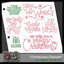 Christmas Chatter CU clipart - outlined sayings