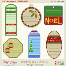 Christmas Tag Layered TEMPLATES 1