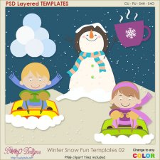 Winter Snow Fun Layered TEMPLATES 02