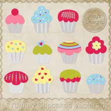 Yummy Cupcakes Layered Vector Templates by Josy