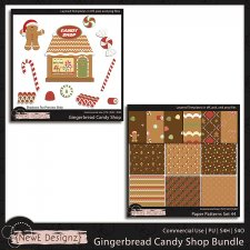 EXCLUSIVE Layered Gingerbread Candy Shop Templates Bundle by NewE Designz