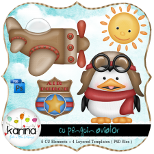 Penguin Airplane Aviator Layered Template by Peek a Boo Designs