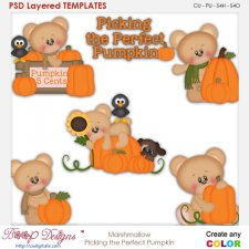 Marshmallow Bear Picking The Perfect Pumpkin Layered Element Templates
