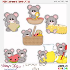 Summer Picnic Mice Layered Element Templates