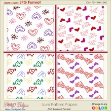 Love Pattern Paper Layered TEMPLATES