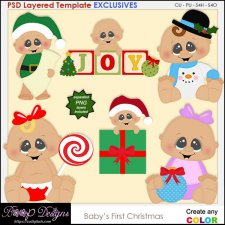 Baby's 1st Christmas - EXCLUSIVE Layered TEMPLATES