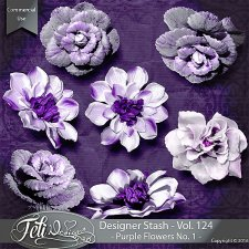 Designer Stash Vol 124 - Purple Flowers No 1 by Feli Designs