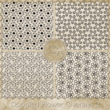 Doodled Flower Overlays 2 by Josy