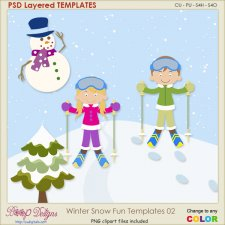 Winter Snow Fun Layered TEMPLATES 01