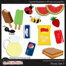 EXCLUSIVE Layered Picnic Templates Set 1 by NewE Designz