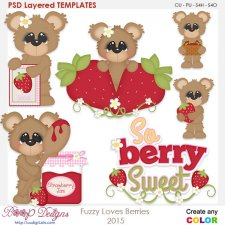 Fuzzy Loves Berries Layered Element Templates