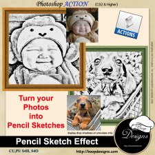 Pencil Sketch Effect ACTION by Boop Designs