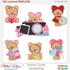 Honey Loves Scrapbooking Layered Element Templates