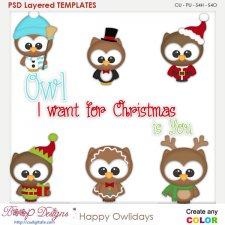 Happy Owl Holidays Element Templates