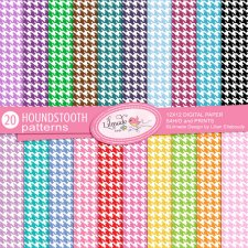 Colorful Houndstooth Digital Papers Lilmade Designs