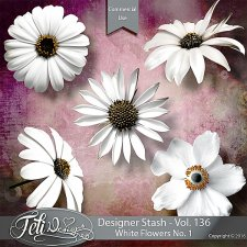Designer Stash Vol 136 - White Flowers No 1 by Feli Designs