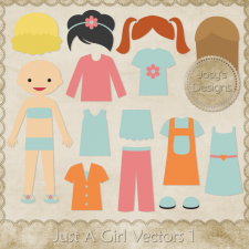 Just A Girl Layered Vector Templates by Josy